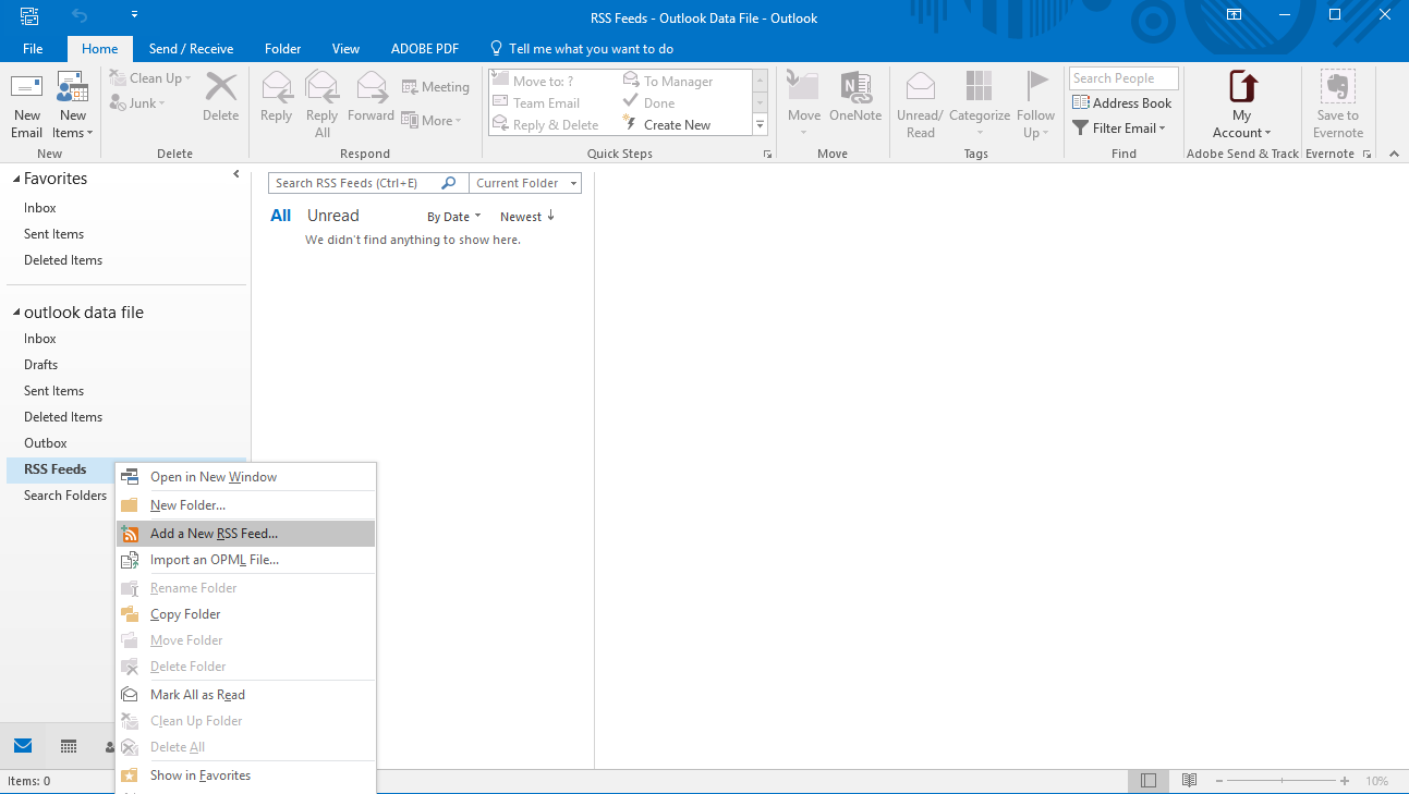 Add researchpool's RSS to outlook step 1