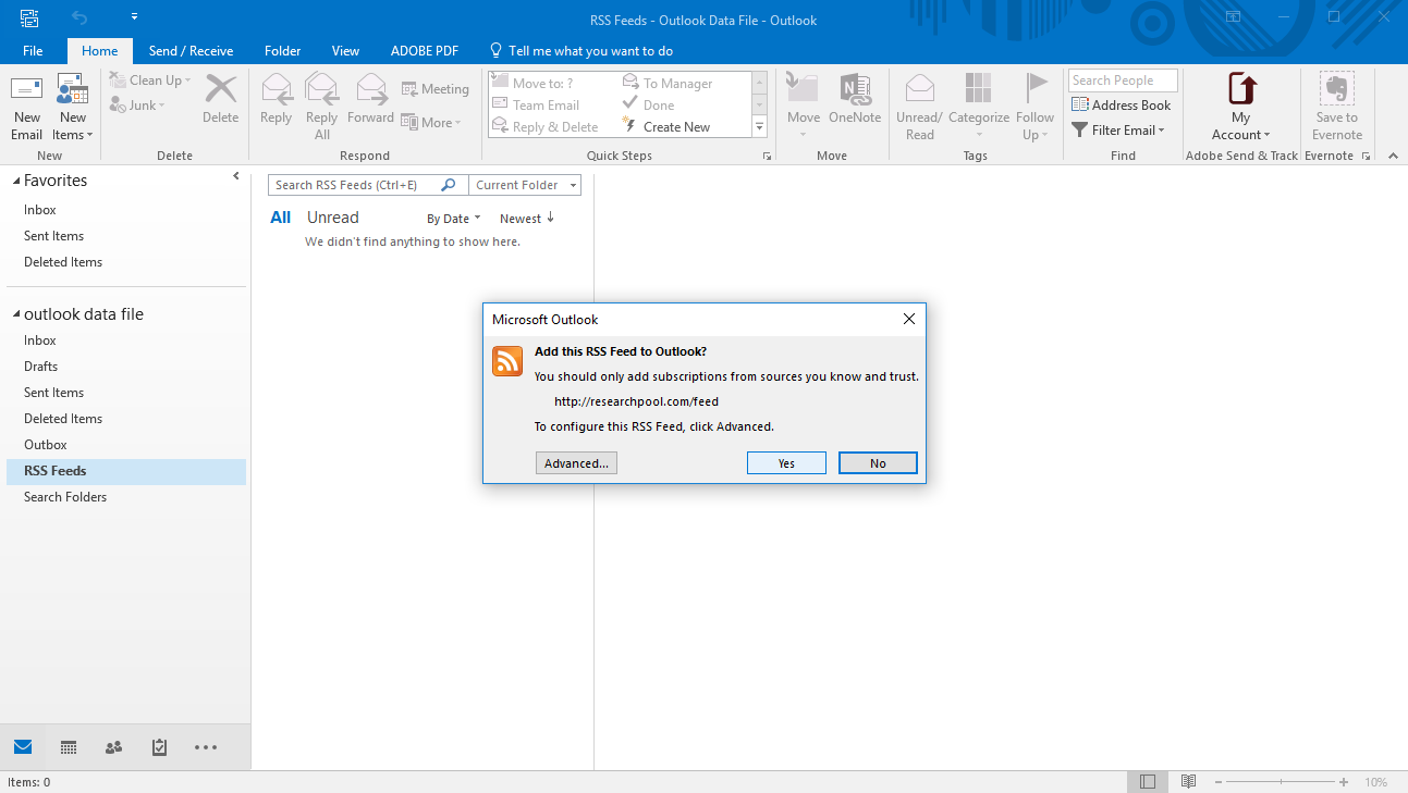 Add researchpool's RSS to outlook step 3
