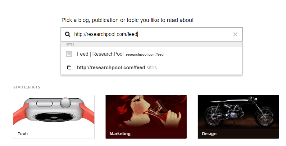 Add ResearchPool's RSS to your Feedly feed reader